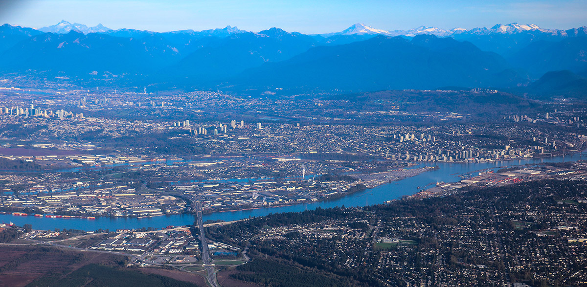 Photo from within the cabin of a flight over Vancouver, BC.
