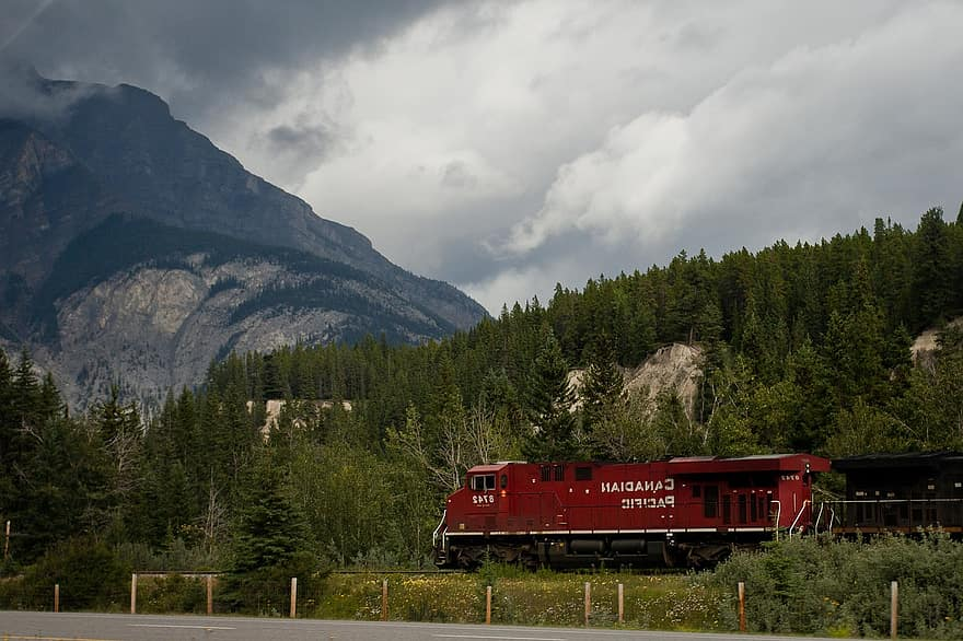 Photo of the Rocky Mountaineer which provides a train service from Vancouver to Banff.